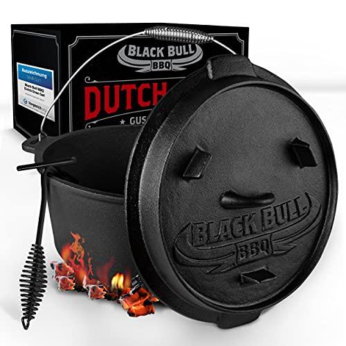 Black Bull BBQ [Das Original] - Dutch Oven Set [7L] – Eingebrannter Feuertopf aus Gusseisen mit...
