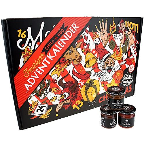Chili- und BBQ-Adventskalender mit 24 Produkten | von mild bis höllisch | Geschenk für Advent und...