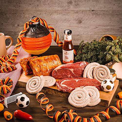 WURSTBARON® EM Halbzeitjause - Grillpaket aus Loin Ribs, Rib Eye Steaks, Grillsauce und Bratwurst
