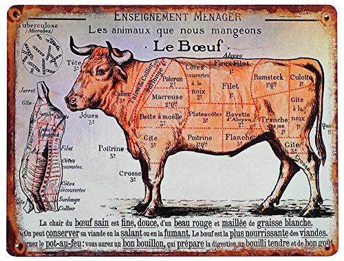 zeitzone Blechschild LE BOEUF Rind Fleischsorten Vintage Küchendeko Fleischkunde 33x25cm